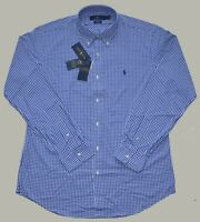 New Large L POLO RALPH LAUREN Mens button down Performance Shirt BLUE plaid top