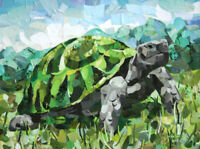 Tortoise - Original Collage Painting [Turtle] - (12 X 16 inch) by John Wallie