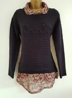 NEW Next 10-18 Mock Floral Layered 2 in 1 Dark Navy Blue Medium Knit Jumper Top