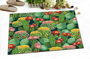 "24x16"" Green Cactus & Flower Kitchen Bathroom Non-Slip Shower Bath Door Mat Rugs"