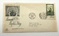 United Nations Human Rights Day Dec 10 1954 First Day Issue Postal Cover FDC