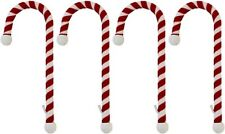 4 Pack Velvet Material Candy Cane Stocking Holder, Classic Red and White