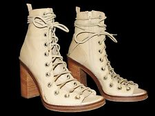 37.5 ANN DEMEULEMEESTER Beige Leather Lace Up Corset Stacked Block Heel Shoes