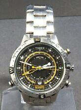 TIMEX INTELLIGENT TIDE COMPASS TEMPERATURE T2N738 BLACK DIAL MEN' WATCH # WS689