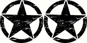 """Military Oscar Mike Jeep Wrangler Distressed Star Sticker Decal 20"""" 508mm Set"""