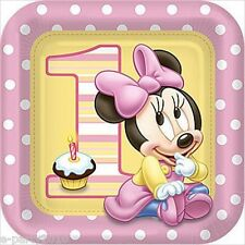 MINNIE MOUSE 1st BIRTHDAY LARGE PAPER PLATES (8) ~ First Party Supplies Luncheon