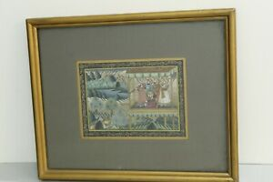 Mughal Miniature Painting Of Mughal Emperor Shooting The Lion On Silk Cloth