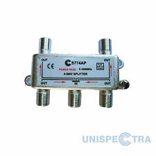 4 WAY SPLITTER TV CABLE NTL VIRGIN DBOX FREEVIEW 5-1000MHz WITH DC PASS