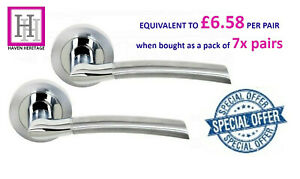 DOOR HANDLE CHROME and Satin Chrome INDIANA Lever On Round Rose x7 Pairs