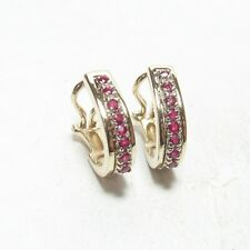 Estate 14K Yellow And White Gold Natural Red Ruby French Clip Earrings 0.50 Cts