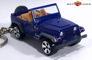 RARE! HTF KEY CHAIN BLUE JEEP WRANGLER KEYRING 4x4 AWD 4WD NEW LIMITED EDITION