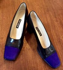 Escada Black Leather And Purple Suede Court Shoes UK 4.5/US 6.5 B