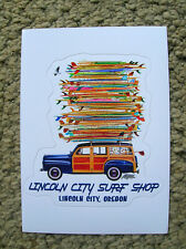 Lincoln city surf shop woody wagon surfing sticker oregon surfboard longboard
