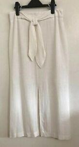 NEW ex Matalan White Linen High-Waisted A-line Summer Long Skirt Size 8-16