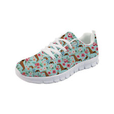 Dachshund Womens Sport Shoes Platform Floral Sneakers Running Shoes Breathable
