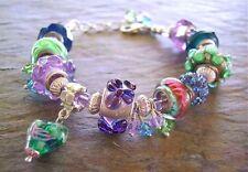 SALE! European Bead Bracelet - Multicolor Blues, Greens, Purple Large Hole Beads