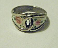 White Enamel Guilloche Roses sz 6 Love Knot Vtg 1960s Modern Sterling Silver