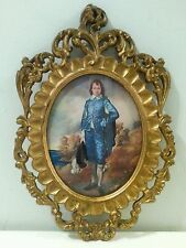 Vintage Oval Italian Picture Frame Blue Boy Cameo style Mod Depose