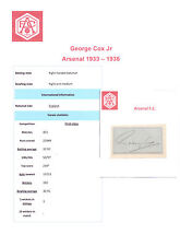 GEORGE COX ARSENAL 1933-1936 VERY RARE ORIGINAL HAND SIGNED CUTTING/CARD