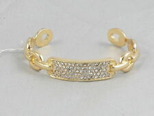 Kenneth Cole Goldtone Bracelet Item Chain Link Pave' ID Cuff Bracelet $35