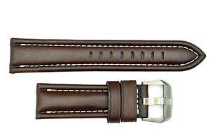 Luminox F-22 Raptor 9247 24mm Brown Leather watch Band Strap W/Ivory Stitches