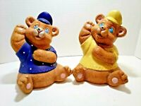 Set of 2 Vintage Teddy Bear Piggy Banks Ceramic Baby Nursery Decor