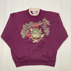 Vintage Morning Sun Ladies Christmas Sweatshirt Size L Crew Neck Pullover Top