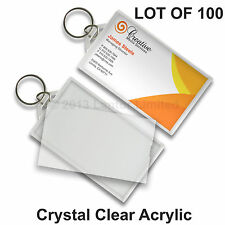 Key Chain Business Card Tag Clear Acrylic  Snap-In  100 pcs #KC70-Clear-100#