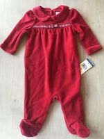 NWT Ralph Lauren Polo Baby Girl Sleeper Outfit Baby Sz 3 Months Red Velour