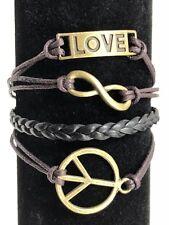 Bracelet Friendship Womens Peace Sign Love Infinity Adjustable Brown Brass NEW