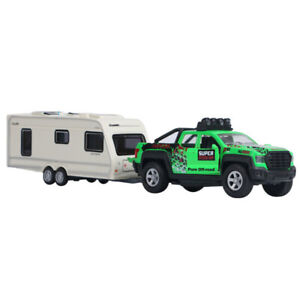 Trailer Tow Pickup Truck w/ Camper Van 1/36 Model Car Diecast Toy Vehicle Gift