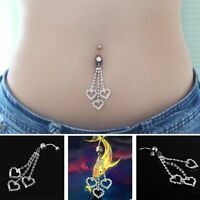 Long Auger Shine Beautiful Three Claw Rhinestone Belly Ring Chain