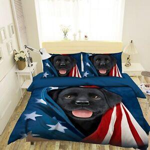 3D Black Pet Dog Star Puppy N203 Bed Pillowcases Quilt Cover Duvet Vincent Amy