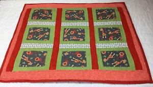 Patchwork Small Crib Quilt, Rectangles, Giraffe & Lion Print, Orange, Green