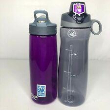 2 Water Bottles Camelbak Pogo Plastic Bpa Free Purple Gray 750mL And 32 Oz