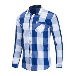 Men Long Sleeve Slim Plaid Cotton Shirt Casual Business Dress Shirts with Pocket