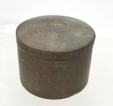 Antique South East Asian Inscribed Signed Brass Bronze Betel Nut Leaf Box