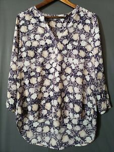 Daniel Rainn Women's 2/3 Sleeve Floral Asymmetric Hem Pullover Top Blouse Size L