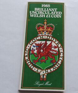 1985 Royal Mint Brilliant Uncirculated Welsh £1 Presentation Pack