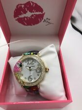 $125 Betsey Johnson Parrot gold tone floral leather strap watch 44mm BJ3