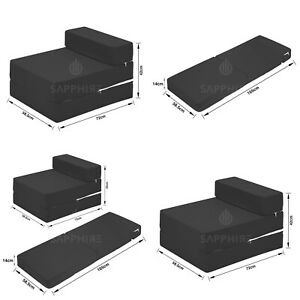 Fold Out Guest Mattress Foam Bed Single Size Futon Z bed Folding Sofa BLACK