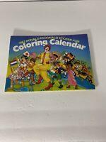 Vtg McDonald's Ronald McDonald 1982 Sticker Fun Coloring Calendar