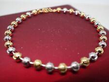 18k  or jaune blanc solide perlé perle dames enfants bracelet 7' 18 cm