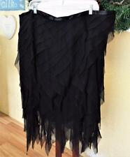 Lafayette 148 Tiered Party Skirt 20 Black Silk Handkerchief Hem Satin Waistband