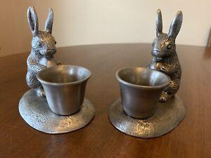 2 Pottery Barn Pewter Rabbit Votive/Taper Holders