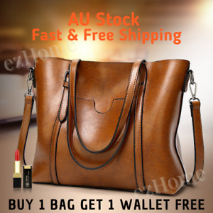 👜 SELECTED Elegant Style Women Waxed Leather Crossbody Shoulder Large Tote