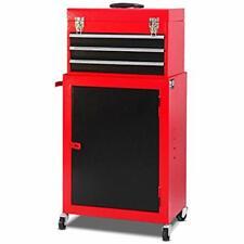 2pc Mini Tool Chest &amp Cabinet Storage Box Rolling Garage Toolbox Organizer