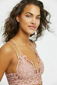 Free People Fp One Adella Bralette Lace Criss Cross Smocked Crop Top X Small XS