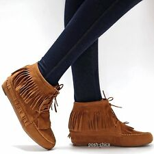 New Women ACp1 Tan Western Fringe Moccasin Booties Wedge Heel Ankle Boots 6 - 10