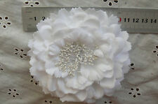 WHITE Flower BROOCH PIN - with HAIR CLIP - Ready to wear - Fabric10-11cm
